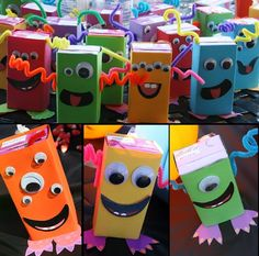 Halloween/Fall: Juice Box Monsters - I'm in charge of drinks for Olivia's preschool class this year for the Halloween party - adorable!