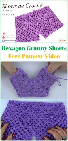 Crochet Hexagon Granny Shorts Free Pattern [Video] - Crochet Summer Shorts