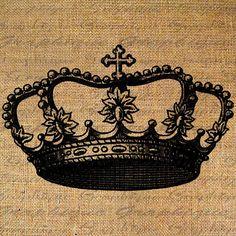 Royal CROWN Digital Image Download coronation crowns Transfer To Pillows Tote Tea Towels Burlap No. 4287