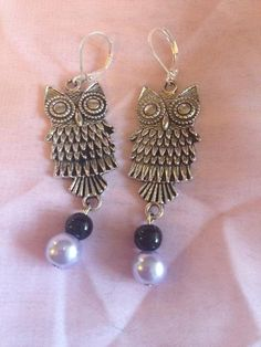 Detailed and Charming Owl Earrings with Lavendar and Black