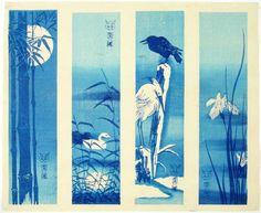 "Skillfully executed ""bokashi"" shading; highly detailed, crisp lines. Full original margins (note ""kento"" marks bottom margin edge and bottom corner). Original Meiji-era uncut set-of-4 vintage ""tanzaku"" (narrow ""poem slip"" format) prints of birds/flowers/bamboo designs done as ""azuri-e"" (shades of blue). Pre-1923 earthquake (note: Daikoku-ya Publisher ceased business in 1923)."