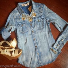 Winter Fashion, Winter Outfit, Spring Fashion, Spring Outfit, Wardrobe Essentials, Wardrobe Basics, Blue Jean Baby Button-Up, Show Stopper Necklace, Timeless Bracelet, Dream Come True Wedges, by Jane Divine Boutique www.janedivine.com #janedivine