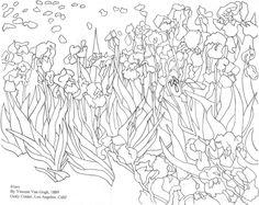 Coloring page: van gogh's irises - amazing wiz kids ескізи олівцем, абстрак Pattern Coloring Pages, Colouring Pages, Coloring Books, Sunflower Coloring Pages, Sunflower Drawing, Vincent Van Gogh, Artist Van Gogh, Dog Coloring Page, Art Van