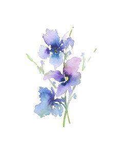 Púrpura arte acuarela pintura flores lámina Iris regalo para