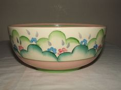 CLARICE-CLIFF-ART-DECO-CLOUD-FLOWERS-FRUIT-BOWL Susie Cooper, Clarice Cliff, Ceramic Artists, Art Deco, Clouds, Fruit, My Favorite Things, Tableware, Flowers