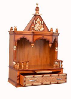 Wood Temple Designs for Home Wooden Temple For Home, Temple Design For Home, Home Temple, Temple House, Wooden Door Design, Wood Design, Mandir Design, Inside Shop, Pooja Room Door Design