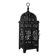 "23786 - Scrollwork Lantern Medium Black - Wholesale. Scrollwork cutouts let candle light shine through, throwing off a beautiful pattern. A good size for a medium size table, side table, or large mantel. Door opening 4 1/4"" x 7 1/2"" high. A small to medium sized pillar candle is ideal. Wedding or home décor."