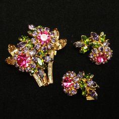 Flower Basket Brooch Pin & Earrings Set Austria
