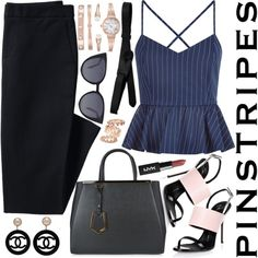 How To Wear Pinstripes (Top Fashion Set for 8 9 16!!!!) Outfit Idea 2017 - Fashion Trends Ready To Wear For Plus Size, Curvy Women Over 20, 30, 40, 50