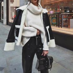 Looks com jaqueta Shearling - Glanz Winter Outfits Women, Fall Outfits, Casual Outfits, Winter Jackets Women, Mode Outfits, Fashion Outfits, Womens Fashion, Looks Party, Vetement Fashion