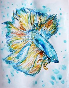 "Items similar to ORIGINAL Watercolour painting ""Blue fish/ Watercolour, Wall Home Modern Contemporary, on Etsy Watercolor Fish, Watercolour Painting, Watercolor Tattoo, Betta Fish, Modern Contemporary, Birds, Ink, The Originals, Blue"