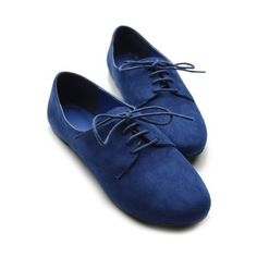 Ollio Womens Ballet Flat Loafers Faux Suede Oxford Lace Ups Multi... ($16) via Polyvore