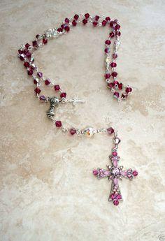 Genuine Swarovski Ruby AB Crystal Silver Girls Communion Rosary W Crystal Cross