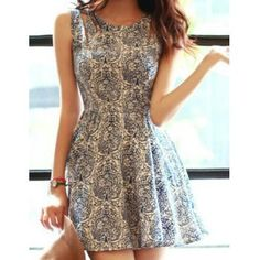 Floral Print Sleeveless Round Collar Wide Hem Zipper Closure Dress (BLUE,M) in Casual Dresses | DressLily.com