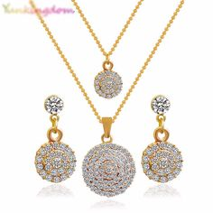 Round Crystal Stones Stylish Necklace, Earrings Wedding Jewelry Sets