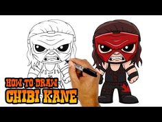 How to Draw Rey Mysterio Sick Drawings, Easy Cartoon Drawings, Cartooning 4 Kids, Mysterio Wwe, Kane Wwe, Chibi Sketch, Simple Cartoon, Wwe Superstars, Wrestling