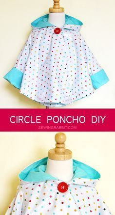 How to make an easy raincoat using this circle poncho DIY, all you need it some cute laminated cotton!   If you love to sew your own clothes, you'll love http://www.sewinlove.com.au