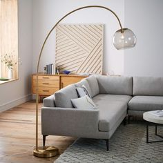 Overarching Acrylic Shade Floor Lamp - Antique Brass/Smoke | west elm UK