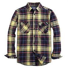 VANCL Mens Flannel Blue White Brown Plaid Long Sleeve Casual Shirt ...