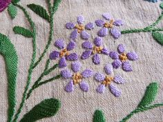Antique French Embroidery | Antique French embroidery panel, hand embroidered linen wall hanging ...