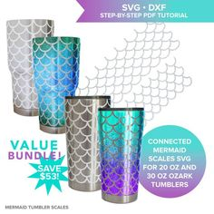 Mermaid scales SVG cutting file for Ozark steel tumbler / mermaid scale tumbler / mermaid pattern SVG / fish scale pattern / circuit / cameo  These connected mermaid scale SVG cutting files are sized and shaped to smoothly wrap around a 20 oz Ozark tumbler and meet at the seams!