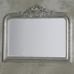 Silver Overmantle Mirror with Beaded Wooden Frame