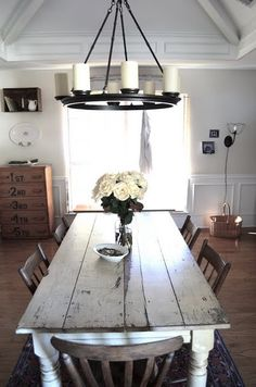 """Love the rustic look of this dining room! I am not a formal girl and don't need a """"formal"""" dining room table!"""