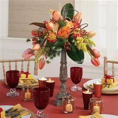 Orange Tulips, Roses and Hypericum Centerpiece