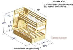 bunk bed plans twin over full - Google Search