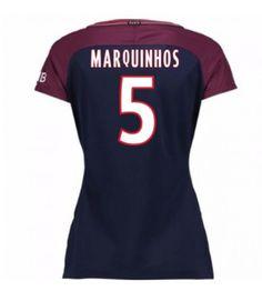 PSG Marquinhos 5 Dámské Domácí Dres 17-18 Krátký Rukáv