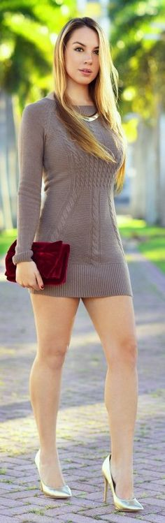 Taupe Cable Knit Mini Sweater Dress by Chic Fashion World   See more at…