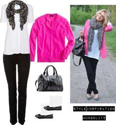 """Hot Pink Cardigan & Grey animal print love"