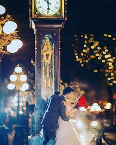cool vancouver wedding 夜 #prewedding #wedding #gastownsteamclock #gastown…
