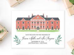 Custom Illustrated Save the Date, Custom Illustrated Wedding Venue Illustration (digital file only