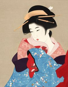 Itou Shinsui (1898-1972)  伊東深水   Three Thousand Years   三千歳、1930 女は花である