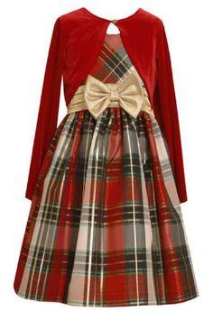 Bonnie Baby Girl Holiday Plaid Dress Set (6m-3t) (2t)