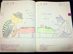 「昨日のライブ落書き。 シュローダーヘッズとアダムアットのセッションが素敵だったので。 ビクターロック祭り〜の文字は、ほんとは前面に書いてあった(笑) #ほぼ日手帳 #ほぼ日カズン #schroederheadz #adamat #live #music #piano #doodle #illustration」