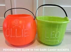 Personalized Glow in the Dark Halloween Buckets | Jenallyson - The Project Girl - Fun Easy Craft Projects including Home Improvement and Decorating - For Women and Moms