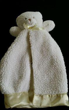 Gerber White Bear Security Blanket Yellow Satin trim Lovey #Gerber