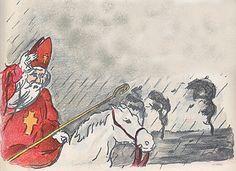 'Hoor de wind waait door de boomen....', Liedjes: een ouderwetsche Sinterklaas avond. Opnieuw bijeen gebracht door Cornelis aan 't Zevenend te Laren., Prentjes Popje Hage.