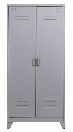 LEF collections Kast 'Max 2' grijs metaal 185x85x50cm