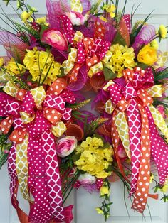 Whimical Ribbon Mesh Spring and Summer Wreath by WilliamsFloral on Etsy https://www.etsy.com/listing/286750407/whimical-ribbon-mesh-spring-and-summer