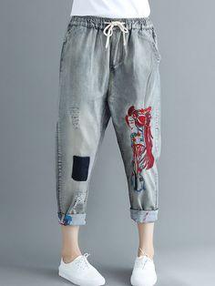 c64eb803fb1 Wonderful Embroidered Ripped Patchwork Drawstring Denim - Online - NewChic  Ripped Denim, Denim Jeans,