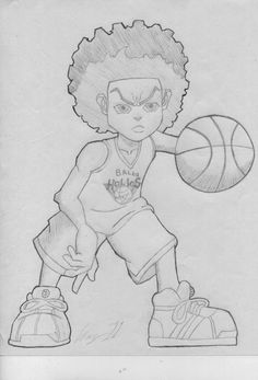 This drawing is based off of a scene in the second season of the boondocks. Description from deviantart.com. I searched for this on bing.com/images Gangster Drawings, Badass Drawings, Easy Drawings, Easy Graffiti Drawings, Dope Cartoon Art, Cartoon Drawings, Drawing Sketches, Boondocks Drawings, Basketball Drawings