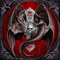 """Anne Stokes Small Art Tile: """"Gothic Dragon"""" Black Dragon with Celtic Cross in Collectables, Fantasy, Magic, Dragons Dragon Tattoo With Skull, Celtic Dragon Tattoos, Crane, Anne Stokes, Bild Tattoos, Dragon Artwork, Dragon Pictures, Dragon Images, Street Art"""