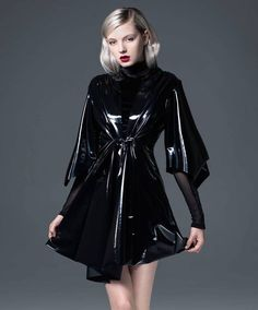 """HAI, """"sensei"""" kimono features our signature wet look PVC. get the look of latex without the uncomfortable feel or smell! NOT LATEX! Latex Fashion, Dark Fashion, Gothic Fashion, Steampunk Fashion, Fashion Models, Mode Latex, Vinyl Dress, Latex Girls, Latex Dress"""