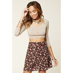 Forever 21 Women's  Floral Mini Wrap Skirt ($15) ❤ liked on Polyvore featuring skirts, mini skirts, forever 21, forever 21 mini skirt, flower print skirt, forever 21 skirts and floral printed skirt