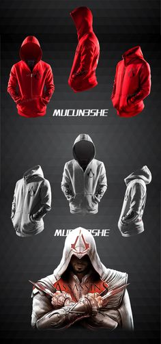 2016 Autumn Winter Assasins Creed Hoodie Men Black Cosplay Sweatshirt Costume Fleece Lined Assassins Creed Mens Hoodies Jackets