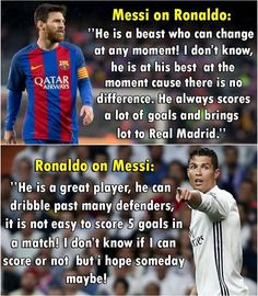 To all messi/Ronaldo lovers So I like Ronaldo more but respect messi with dear love Messi On Ronaldo, Cristiano Vs Messi, Cristiano Ronaldo Quotes, Messi Vs, Lionel Messi, Ronaldo Madrid, Soccer Memes, Soccer Quotes, Football Memes
