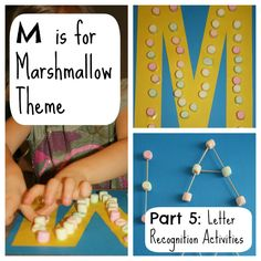 M is for mashing (fine motor) Counting the marshmallows Counting the toothpicks Letter M Activities for M is for Marshmallow Theme from Fantastic Fun and Learning